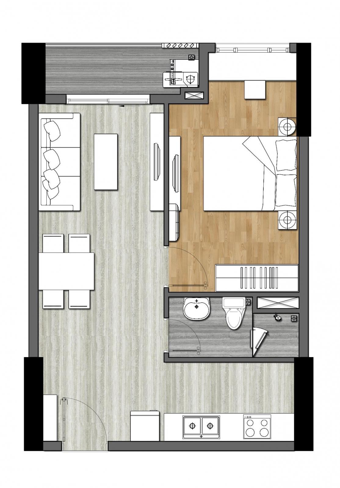 thiết kế căn 1 phong ngủ