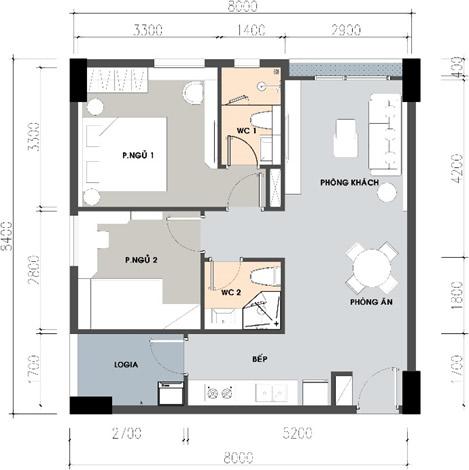 thiết kế căn 2 phòng ngủ, 2 nhà vệ sinh