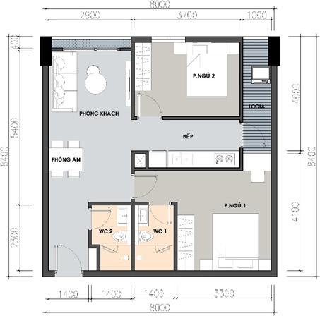 thiết kế căn 2 phòng ngủ 2 nhà vệ sinh